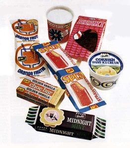 Selection of ice creams in packets
