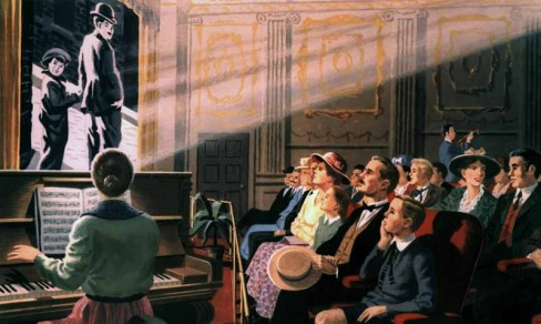 Illustration of an audience watching a silent film