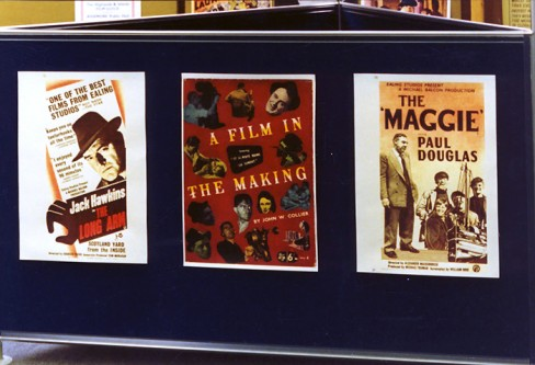 Display board showing Ealing Studios memorabilia