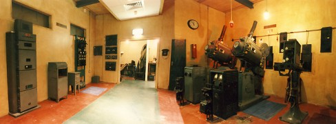 Composite image of a recreation of a projection room