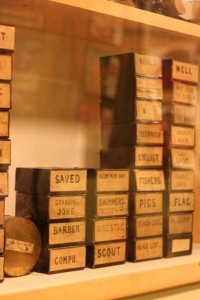 Stacked boxes labelled with short film names