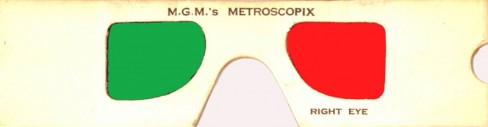 Close-up of some disposable 'Metroscopix' brand 3D glasses