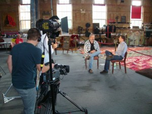 An interview with Terry Gilliam being filmed at the Cinema Museum