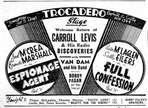 A black-and-white advertisement for a full programme on stage at the Trocadero, Elephant and Castle, featuring Carroll Levis