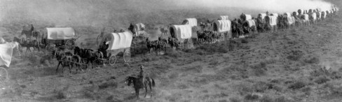 Wagon train, still from early Western The Covered Wagon