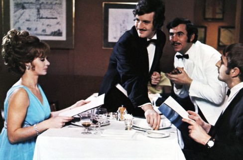 "Carol Cleveland and other Pythons in ""The Dirty Fork"" sketch from And Now For Something Completely Different"