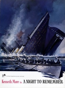 A poster for the film A Night to Remember featuring a painting of the sinking Titanic