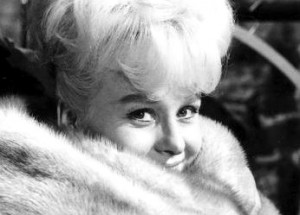 Close-up of Barbara Windsor in furs in Crooks in Cloisters
