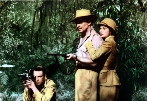 Donald Sinden in jungle with Clark Gable and Grace Kelly in Mogambo (1953)