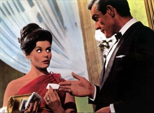 From a lobby card for Dr. No, featuring Bond and Sylvia Trench