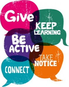 Speech bubbles listing the five ways to wellbeing